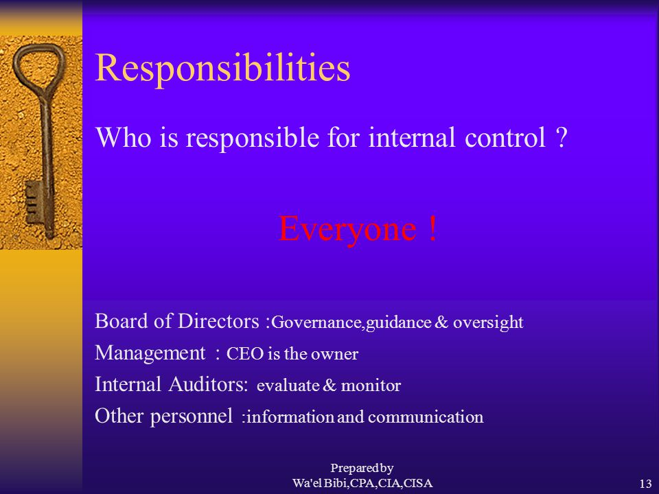 Prepared by Wa el Bibi,CPA,CIA,CISA13 Responsibilities Who is responsible for internal control .