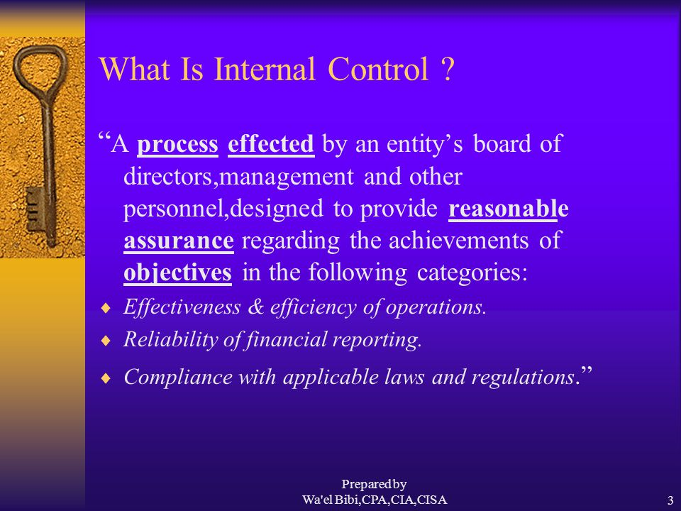 Prepared by Wa el Bibi,CPA,CIA,CISA14 What Internal Control Can Do  It can help achieve performance & profitability targets.