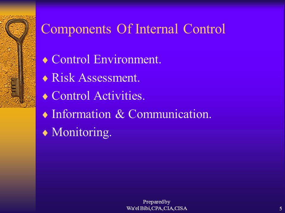 Prepared by Wa el Bibi,CPA,CIA,CISA5 Components Of Internal Control  Control Environment.