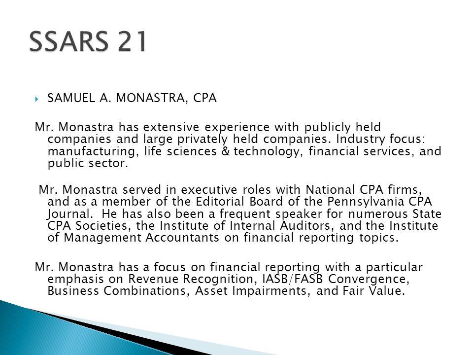  SAMUEL A. MONASTRA, CPA Mr.