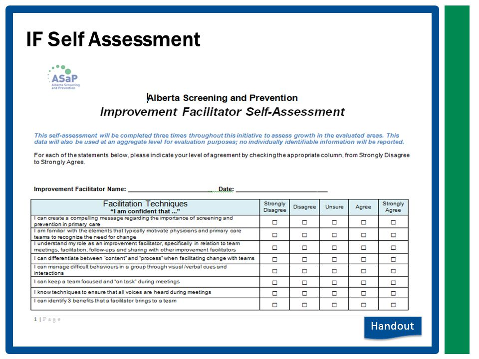 IF Self Assessment Handout