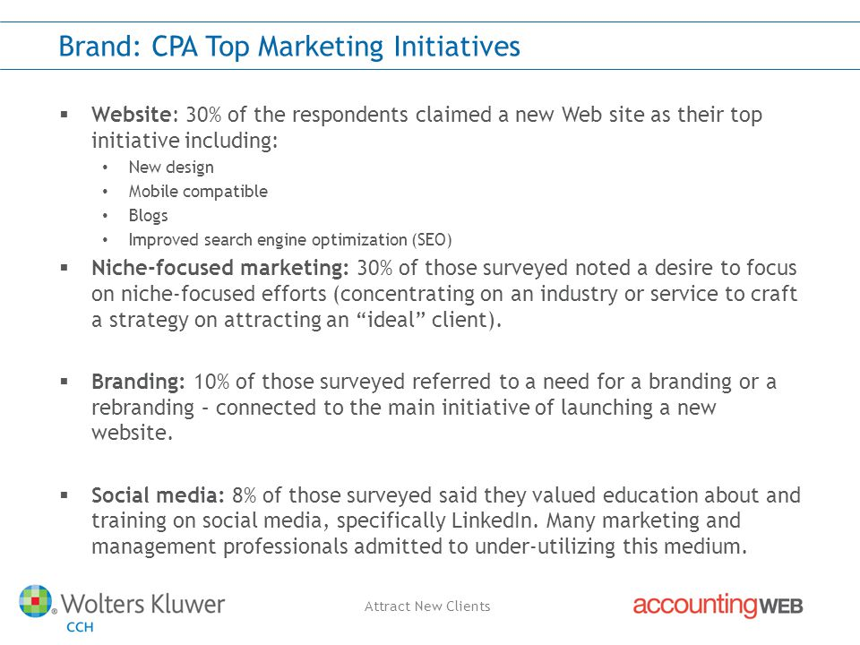 Attract New Clients Brand: CPA Top Marketing Initiatives  Website: 30% of the respondents claimed a new Web site as their top initiative including: New design Mobile compatible Blogs Improved search engine optimization (SEO)  Niche-focused marketing: 30% of those surveyed noted a desire to focus on niche-focused efforts (concentrating on an industry or service to craft a strategy on attracting an ideal client).
