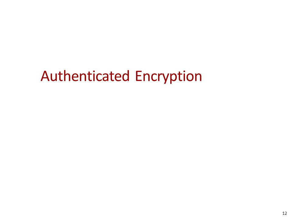 Authenticated Encryption 12
