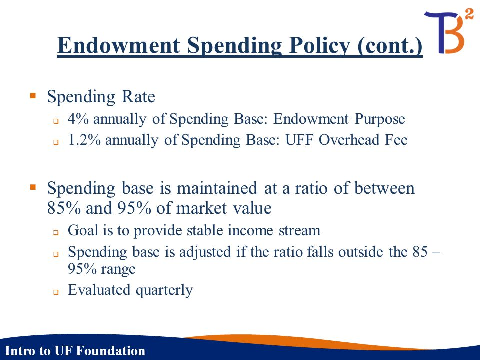 Intro to UF Foundation Endowment Spending Policy (cont.)  Spending Rate  4% annually of Spending Base: Endowment Purpose  1.2% annually of Spending