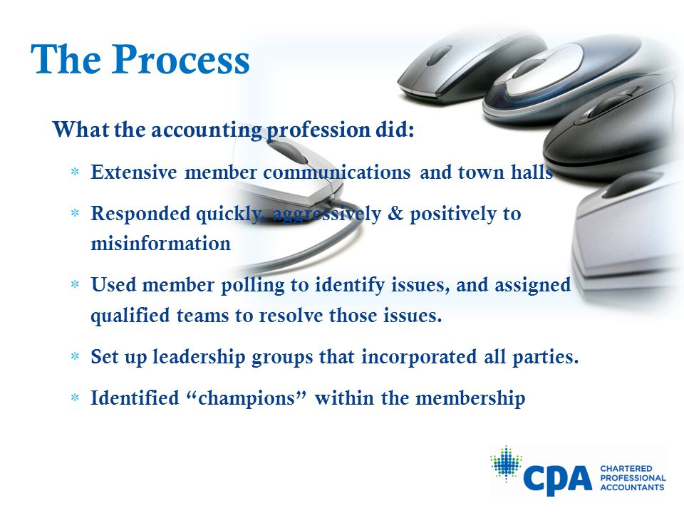 What the accounting profession did:  Extensive member communications and town halls  Responded quickly, aggressively & positively to misinformation