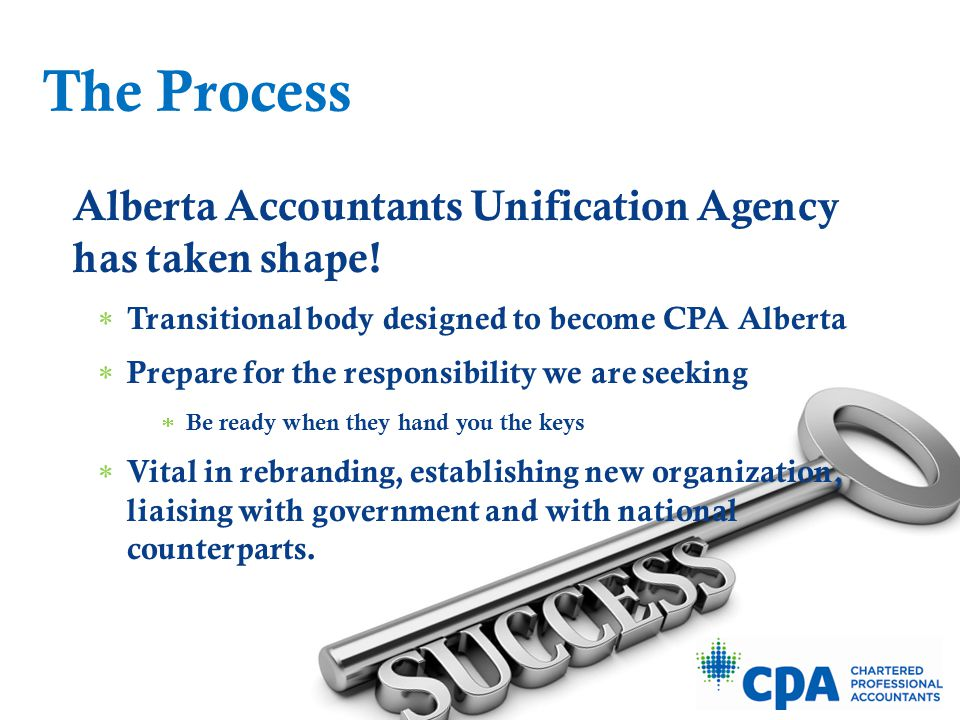 Unification Agency Achievements to date:  2014/15 strategic plan, budget and business plan in place  Transitional management structure in place  Merged work:  Business development/recruiting  Education  Regulatory (Practice review, discipline)  Communications, marketing, public relations, government relations  IT  CPA Life: services to members, events  Corporate Services  Premises planning The Process