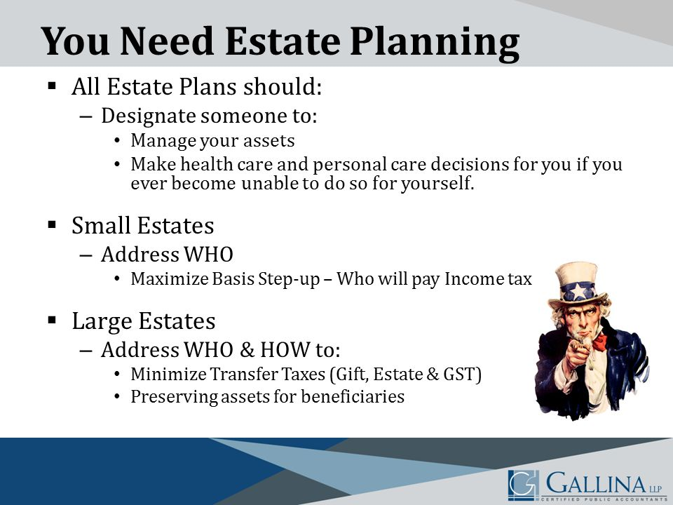 You Need Estate Planning  All Estate Plans should: – Designate someone to: Manage your assets Make health care and personal care decisions for you if you ever become unable to do so for yourself.