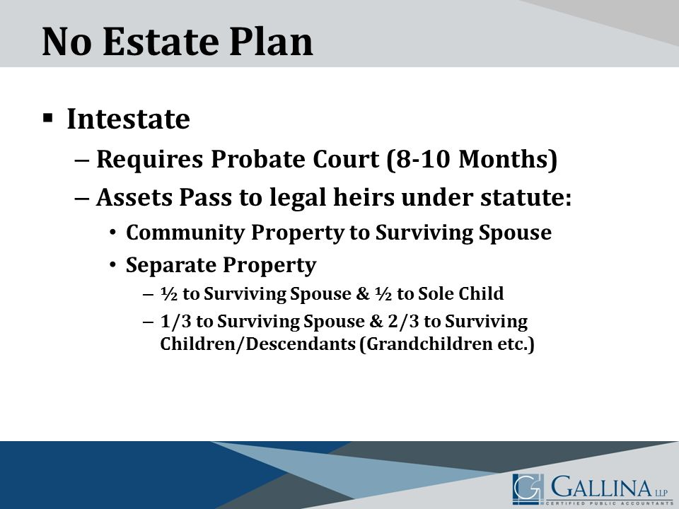 No Estate Plan  Intestate – Requires Probate Court (8-10 Months) – Assets Pass to legal heirs under statute: Community Property to Surviving Spouse Separate Property – ½ to Surviving Spouse & ½ to Sole Child – 1/3 to Surviving Spouse & 2/3 to Surviving Children/Descendants (Grandchildren etc.)
