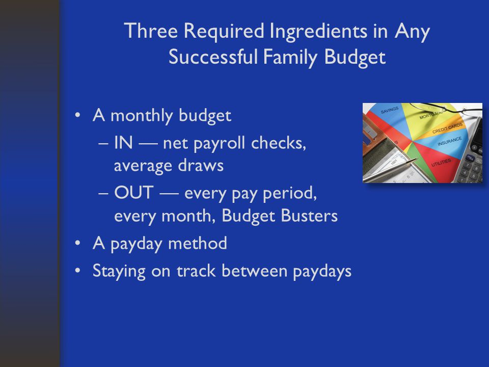 Three Required Ingredients in Any Successful Family Budget A monthly budget –IN — net payroll checks, average draws –OUT — every pay period, every mon