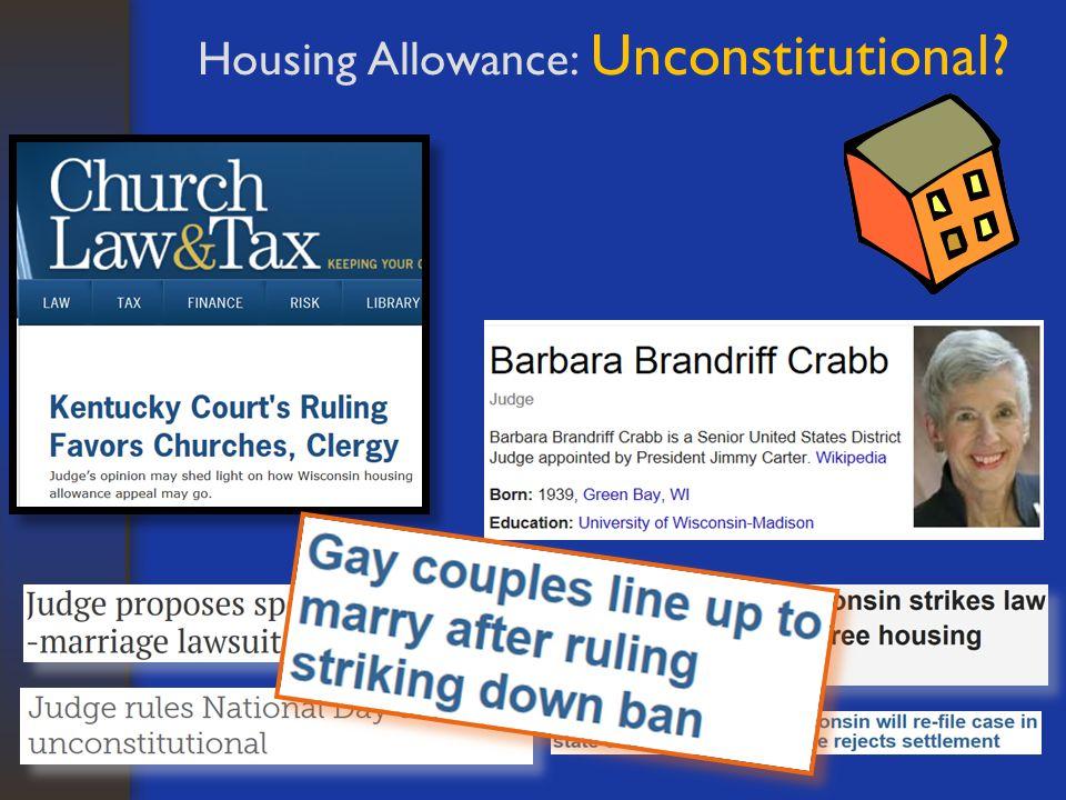 Housing Allowance: Unconstitutional?