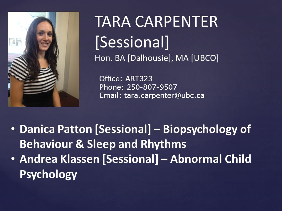 TARA CARPENTER [Sessional] Hon.