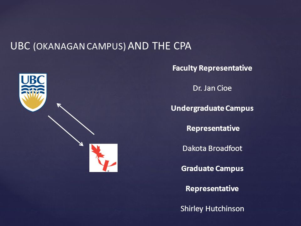 UBC (OKANAGAN CAMPUS) AND THE CPA Faculty Representative Dr.