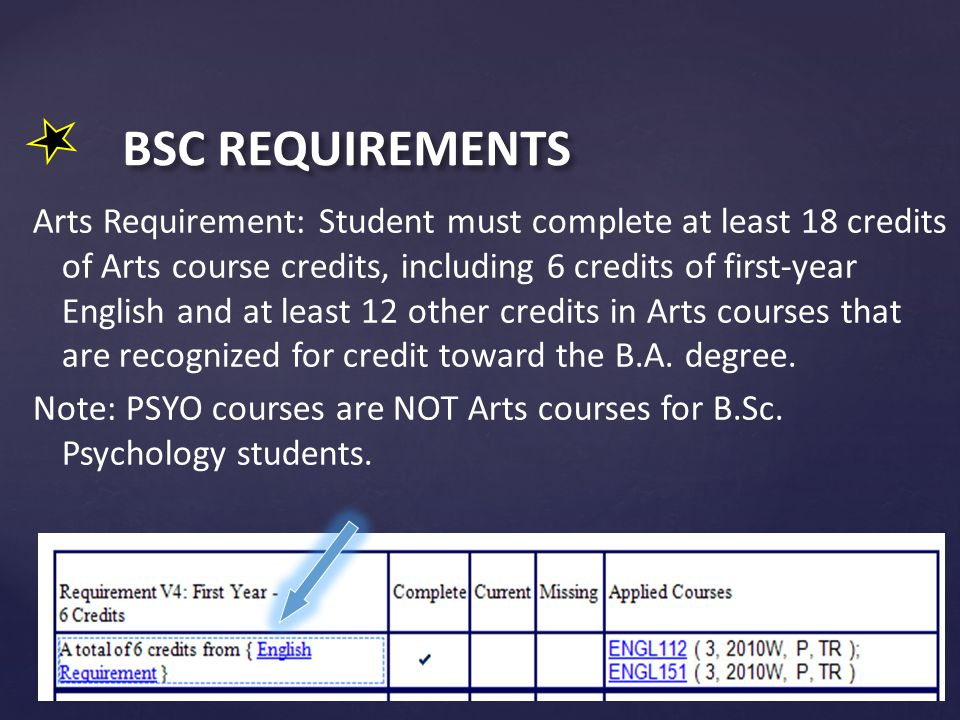 BSC REQUIREMENTS Arts Requirement: Student must complete at least 18 credits of Arts course credits, including 6 credits of first-year English and at least 12 other credits in Arts courses that are recognized for credit toward the B.A.