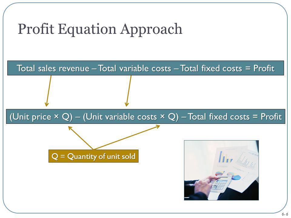 6- 6 Profit Equation Approach (Unit price × Q) – (Unit variable costs × Q) – Total fixed costs = Profit Q = Quantity of unit sold Total sales revenue – Total variable costs – Total fixed costs = Profit