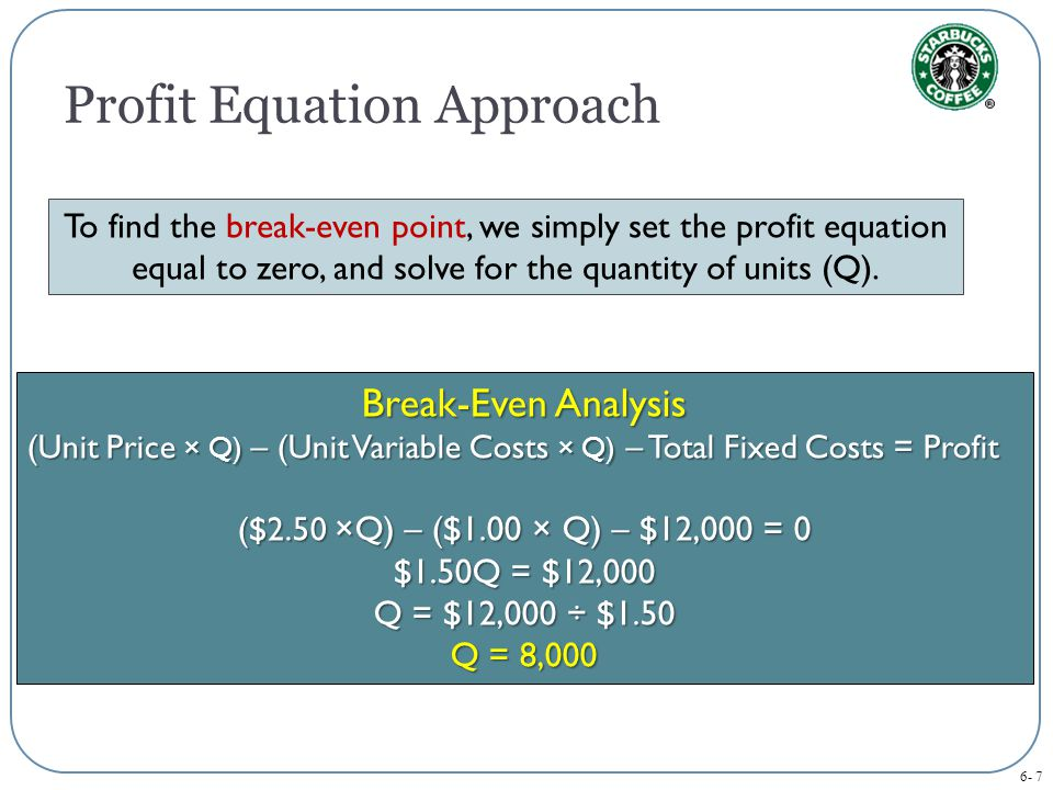 6- 7 To find the break-even point, we simply set the profit equation equal to zero, and solve for the quantity of units (Q).