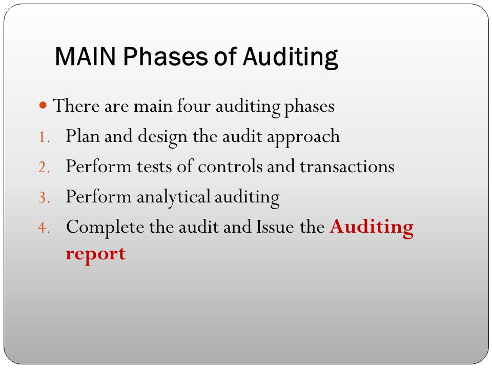 MAIN Phases of Auditing There are main four auditing phases 1.