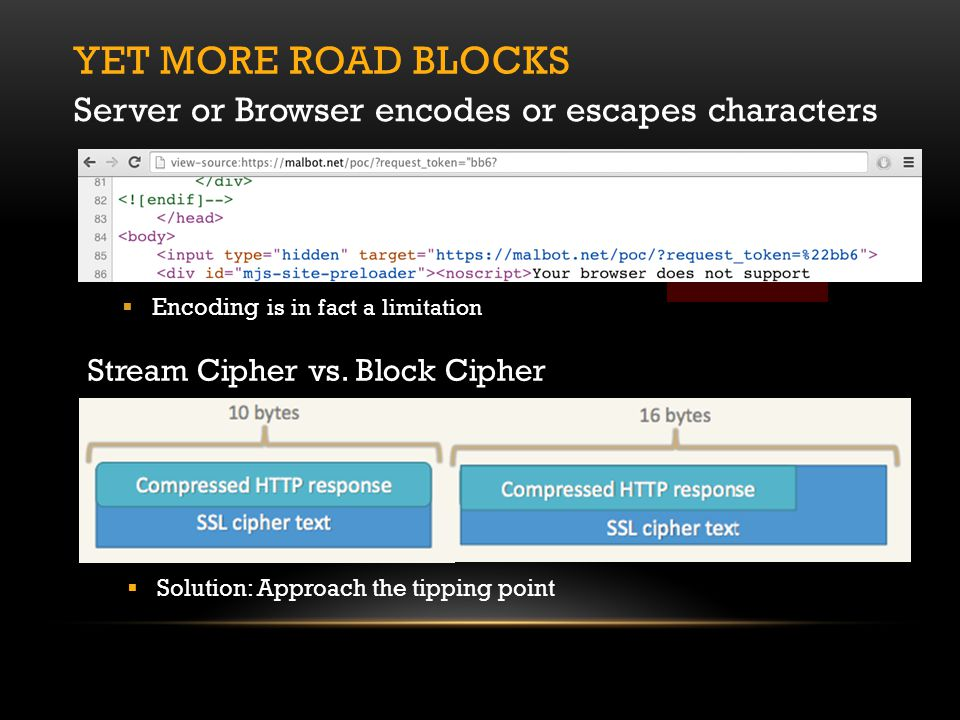 YET MORE ROAD BLOCKS Server or Browser encodes or escapes characters  Encoding is in fact a limitation Stream Cipher vs.