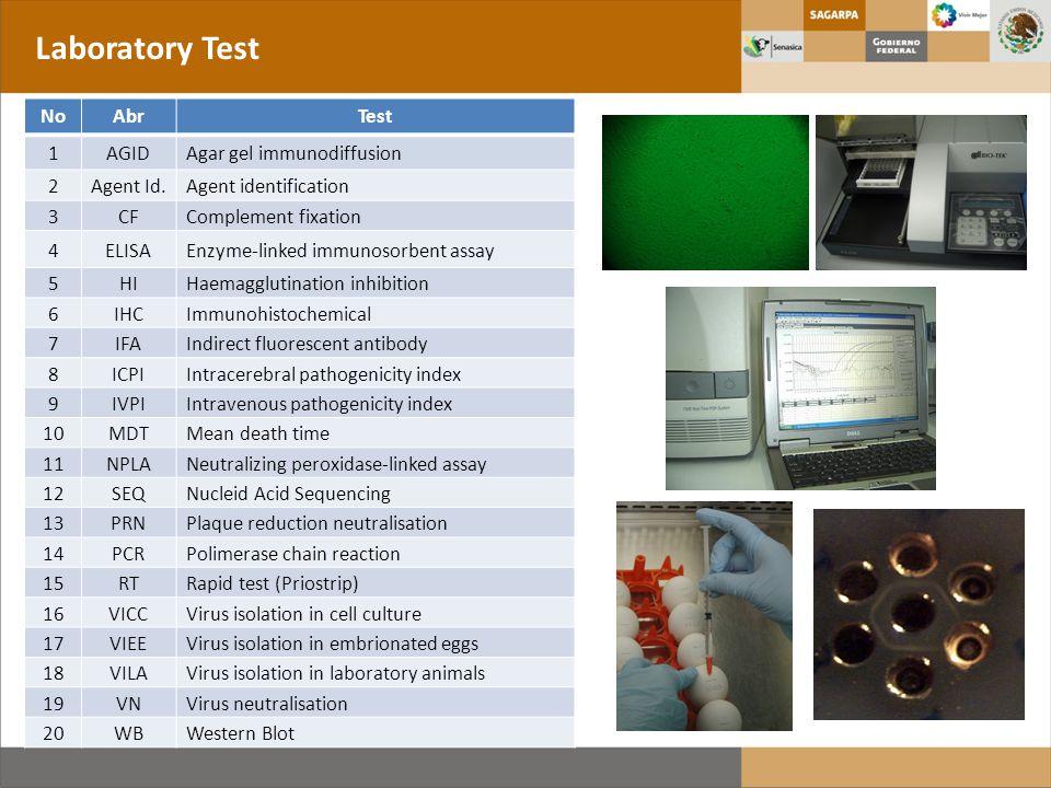 Laboratory Test NoAbrTest 1AGID Agar gel immunodiffusion 2Agent Id.