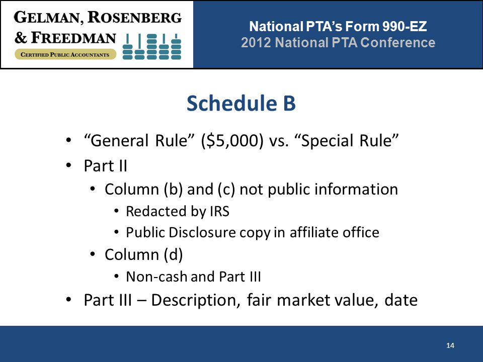 """National PTA's Form 990-EZ 2012 National PTA Conference Schedule B """"General Rule"""" ($5,000) vs. """"Special Rule"""" Part II Column (b) and (c) not public in"""