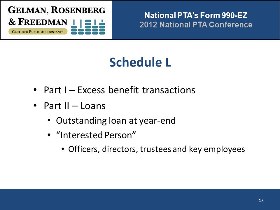 """National PTA's Form 990-EZ 2012 National PTA Conference Schedule L Part I – Excess benefit transactions Part II – Loans Outstanding loan at year-end """""""