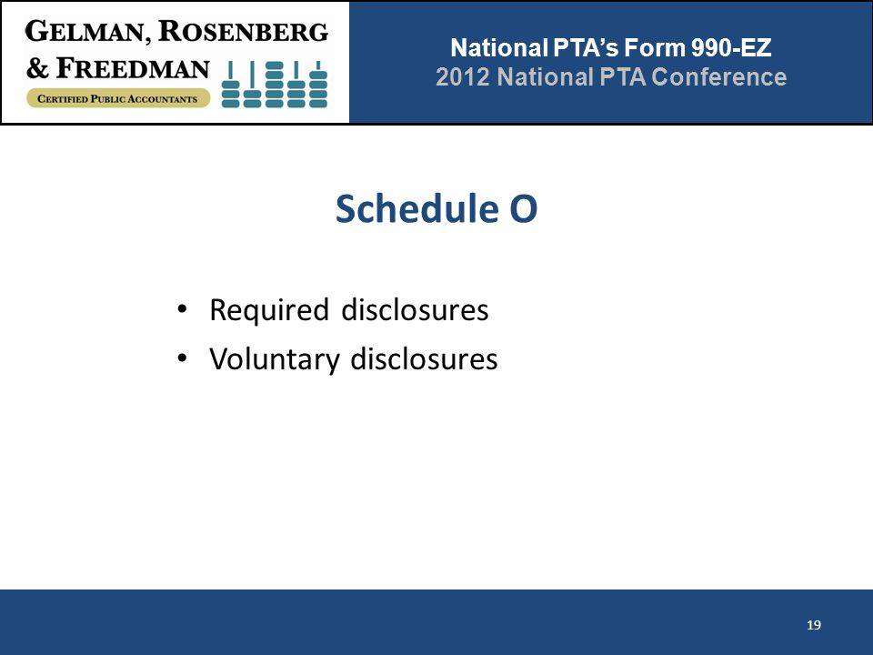 National PTA's Form 990-EZ 2012 National PTA Conference Schedule O Required disclosures Voluntary disclosures 19