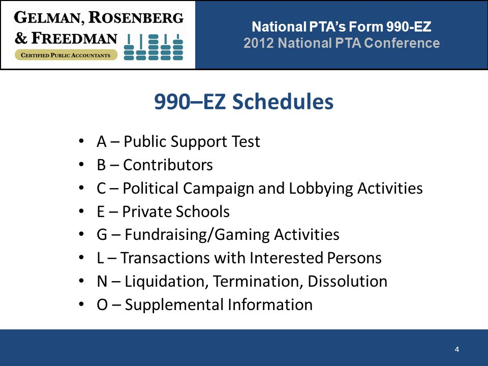 National PTA's Form 990-EZ 2012 National PTA Conference 990–EZ Schedules 4 A – Public Support Test B – Contributors C – Political Campaign and Lobbyin