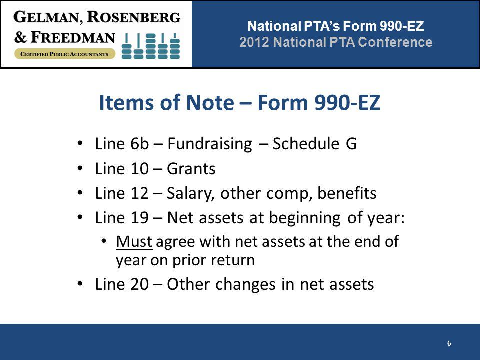National PTA's Form 990-EZ 2012 National PTA Conference Items of Note – Form 990-EZ Line 6b – Fundraising – Schedule G Line 10 – Grants Line 12 – Sala