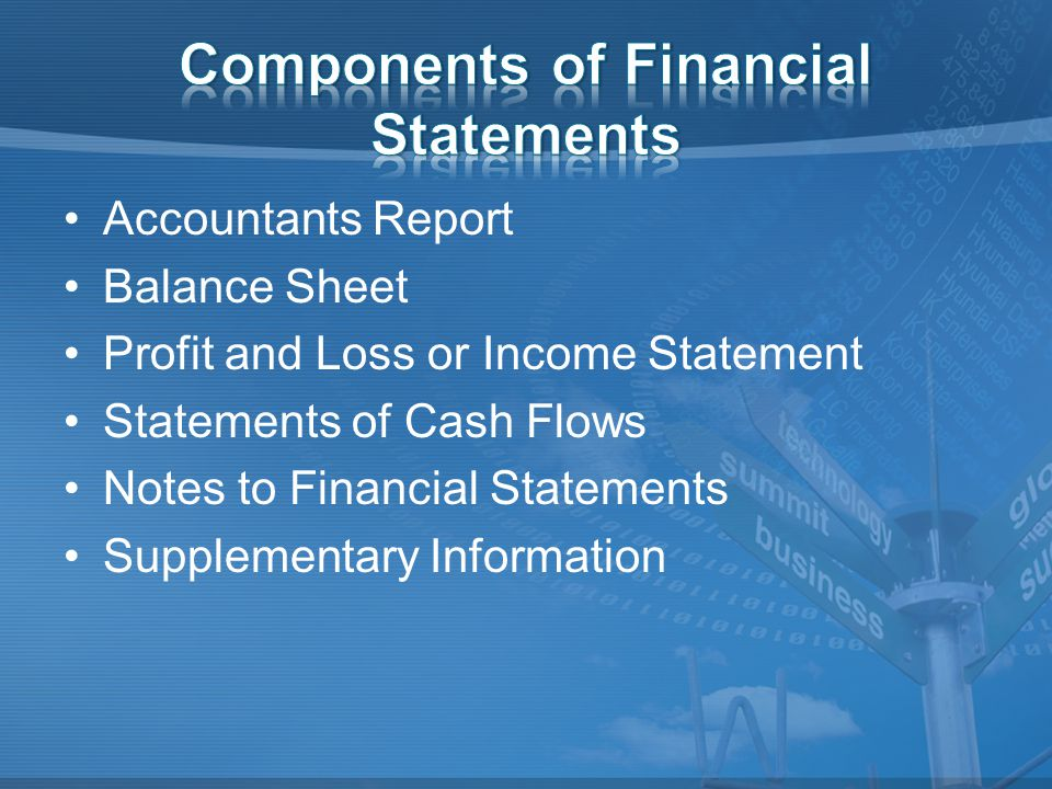 Accountants Report Balance Sheet Profit and Loss or Income Statement Statements of Cash Flows Notes to Financial Statements Supplementary Information