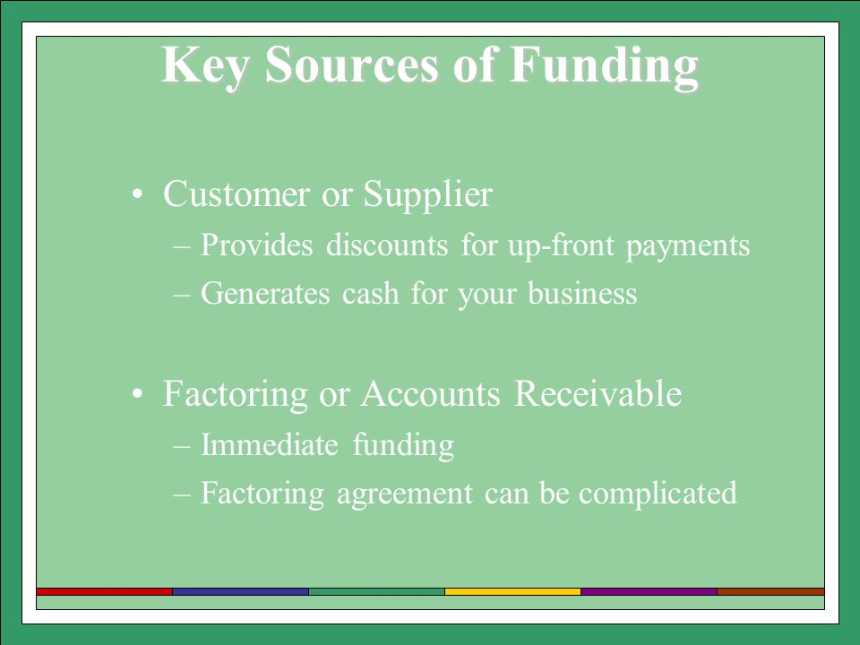 Key Sources of Funding Customer or Supplier –Provides discounts for up-front payments –Generates cash for your business Factoring or Accounts Receivable –Immediate funding –Factoring agreement can be complicated