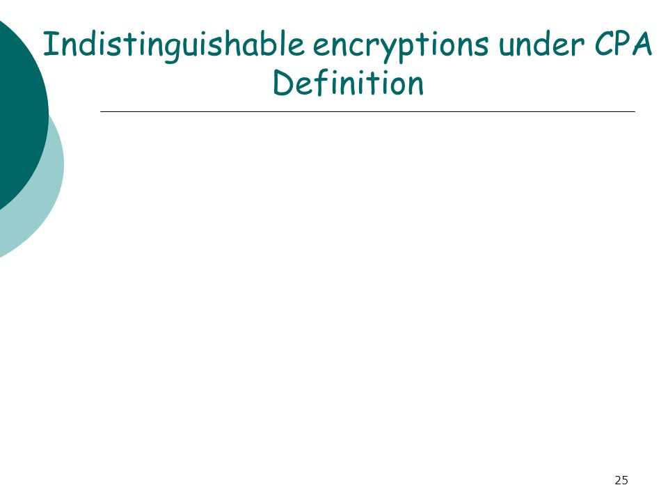 Indistinguishable encryptions under CPA Definition 25