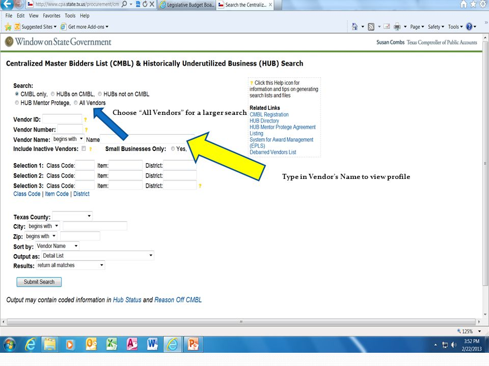 """Type in Vendor's Name to view profile Choose """"All Vendors"""" for a larger search"""