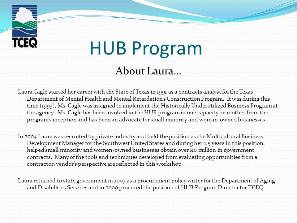 HUB Program About Laura… Laura Cagle started her career with the State of Texas in 1991 as a contracts analyst for the Texas Department of Mental Health and Mental Retardation's Construction Program.