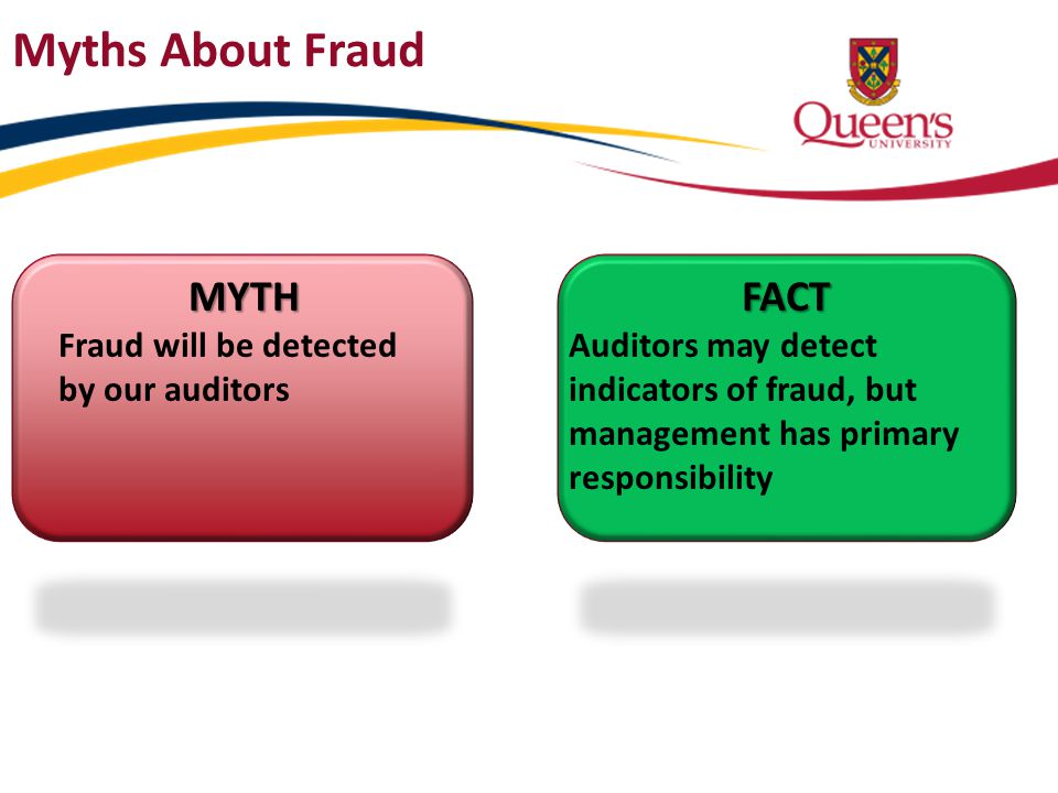 MYTH Fraud will be detected by our auditorsFACT Auditors may detect indicators of fraud, but management has primary responsibility Myths About Fraud