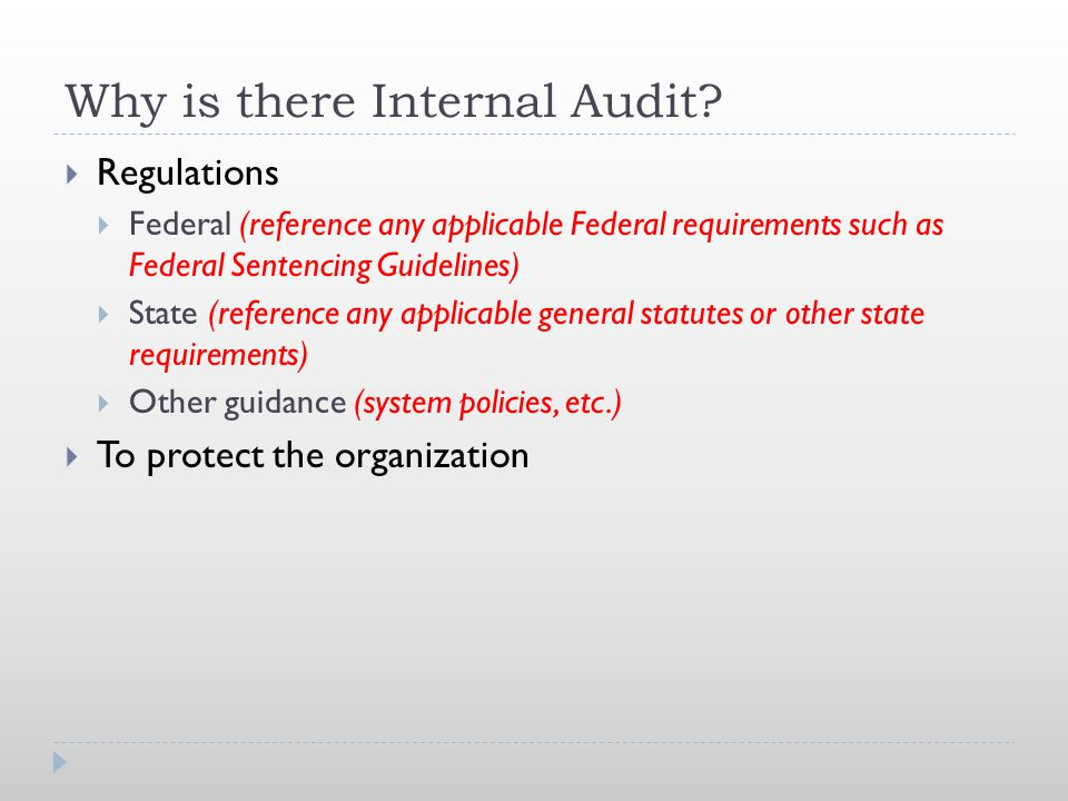 Why is there Internal Audit.