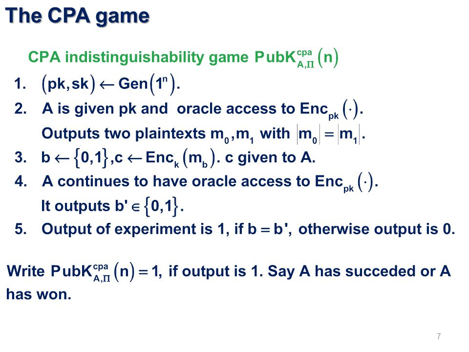 The CPA game 7