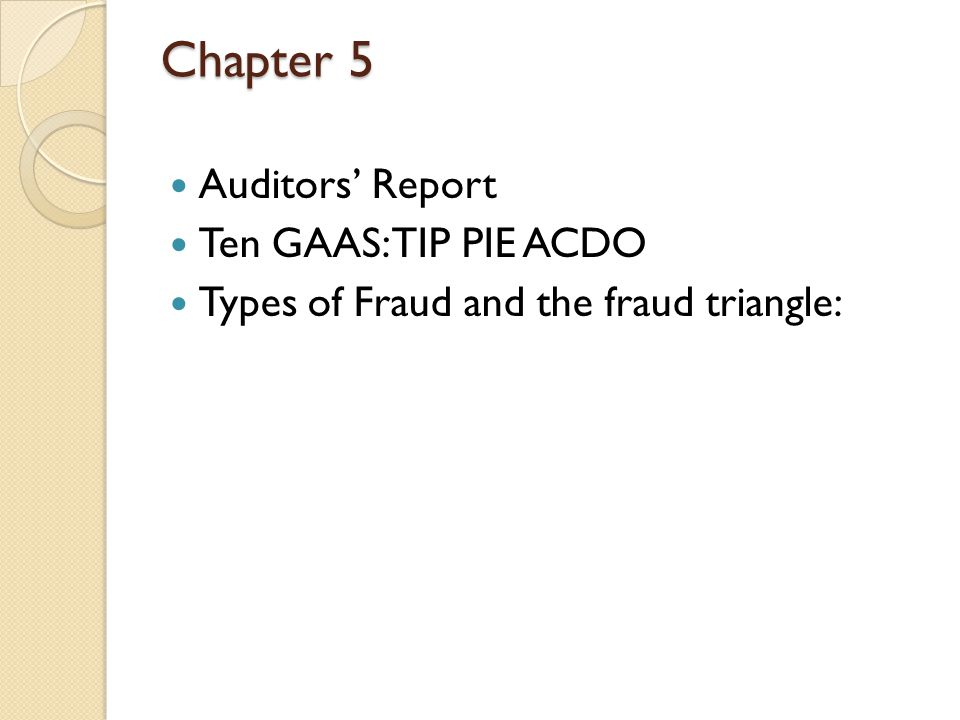 Auditors' Report Five types of opinions standard unqualified modified unqualified ANGEL modifications still provide an unqualified opinion Qualified: Material GAAP or GAAS problem Disclaimer: highly material GAAS problem Adverse: highly material GAAP problem