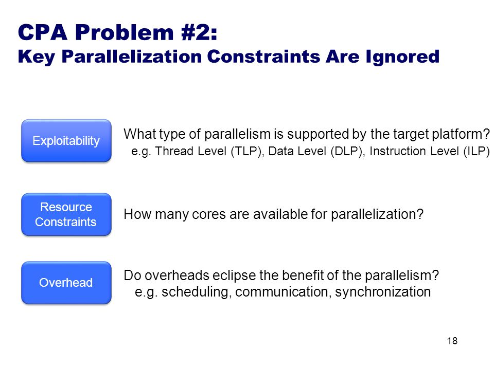 18 Overhead Exploitability What type of parallelism is supported by the target platform.