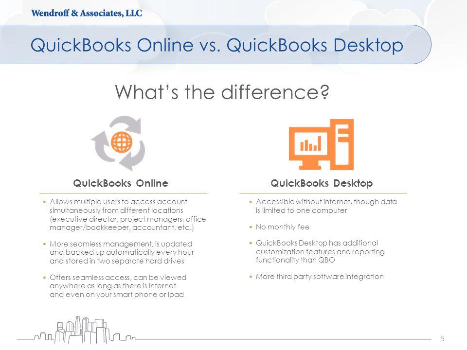 QuickBooks Online vs. QuickBooks Desktop 5 QuickBooks OnlineQuickBooks Desktop What's the difference?  Allows multiple users to access account simult