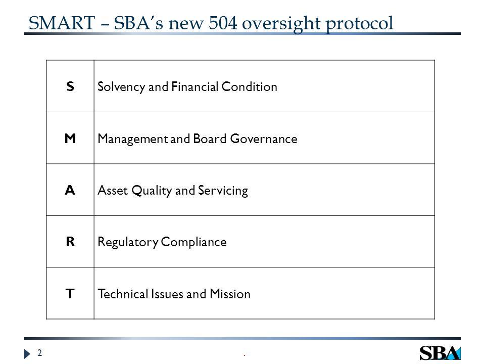 2 SMART – SBA's new 504 oversight protocol.