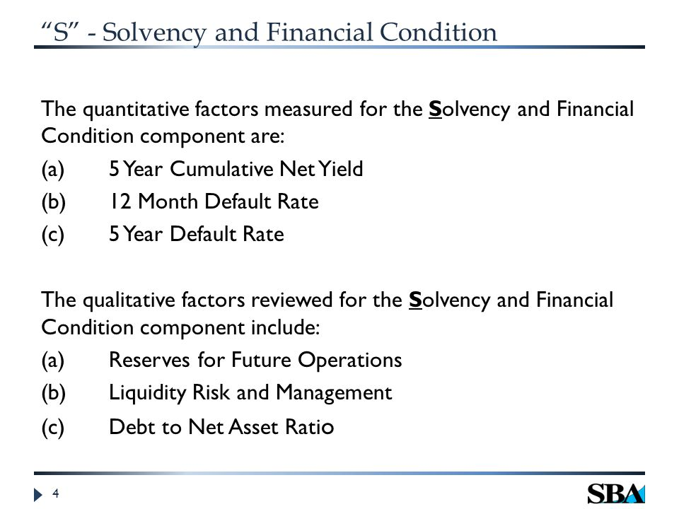 S - Solvency and Financial Condition The quantitative factors measured for the Solvency and Financial Condition component are: (a) 5 Year Cumulative Net Yield (b)12 Month Default Rate (c)5 Year Default Rate The qualitative factors reviewed for the Solvency and Financial Condition component include: (a) Reserves for Future Operations (b)Liquidity Risk and Management (c)Debt to Net Asset Rati o 4