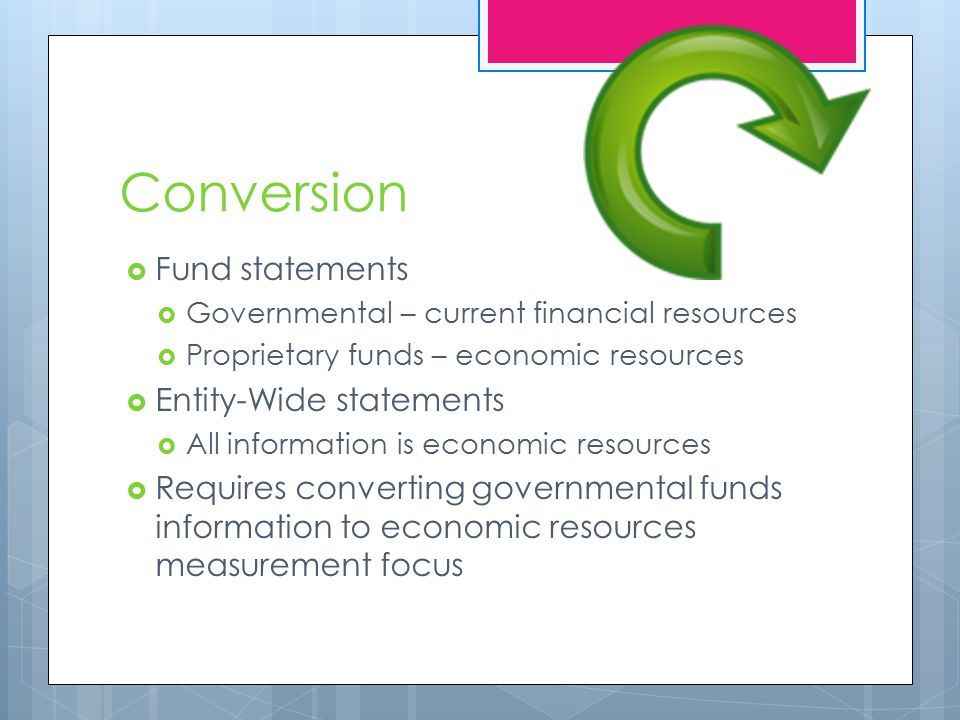 Conversion  Fund statements  Governmental – current financial resources  Proprietary funds – economic resources  Entity-Wide statements  All information is economic resources  Requires converting governmental funds information to economic resources measurement focus