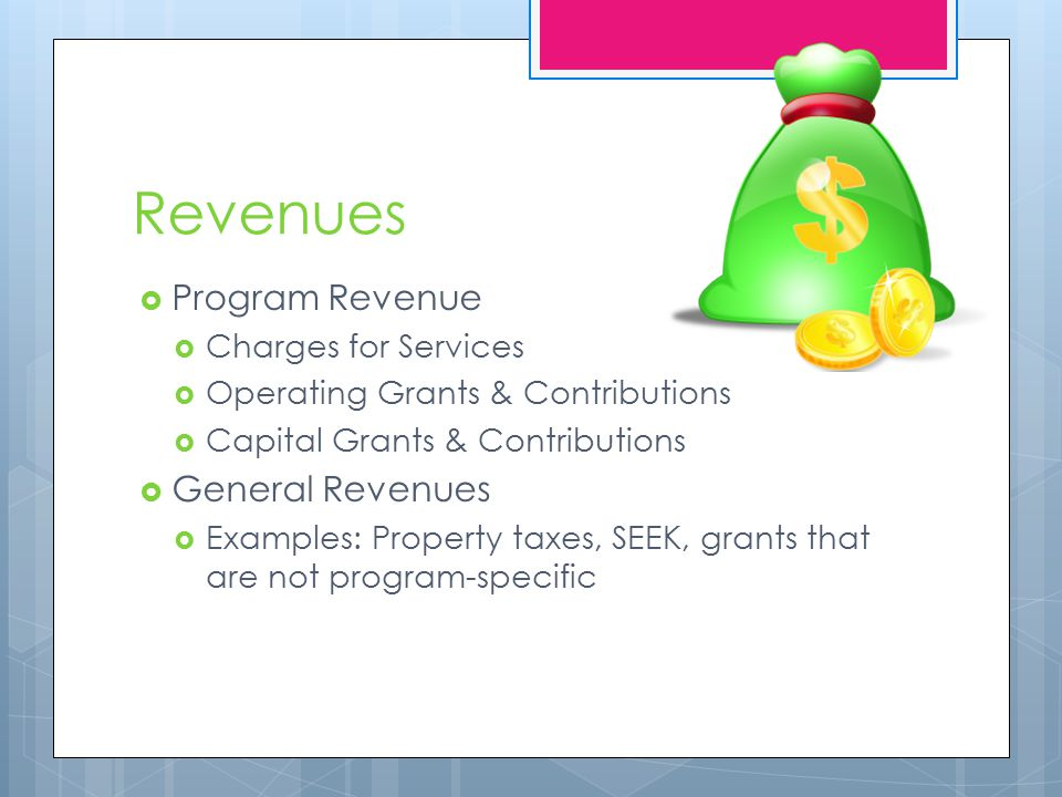 Revenues  Program Revenue  Charges for Services  Operating Grants & Contributions  Capital Grants & Contributions  General Revenues  Examples: Property taxes, SEEK, grants that are not program-specific