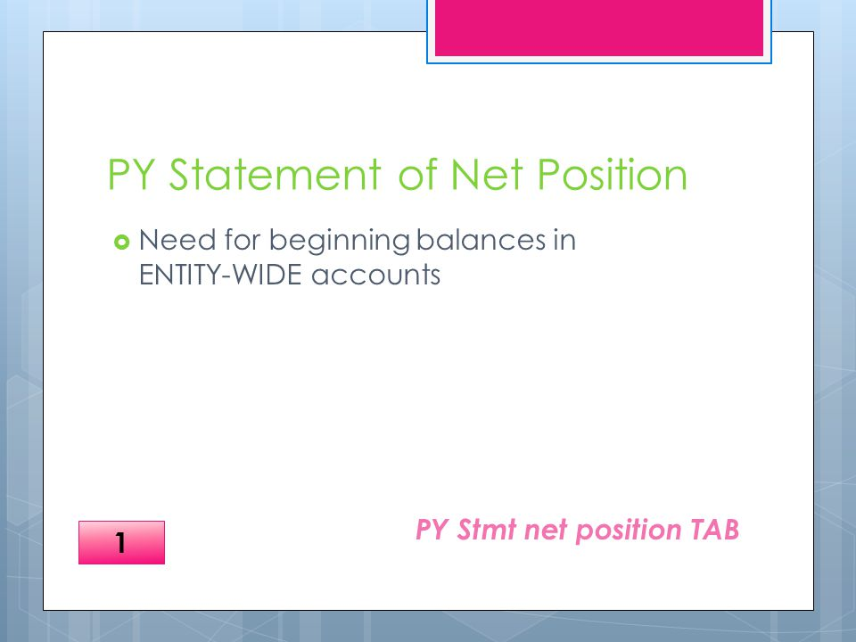 PY Statement of Net Position  Need for beginning balances in ENTITY-WIDE accounts PY Stmt net position TAB 1