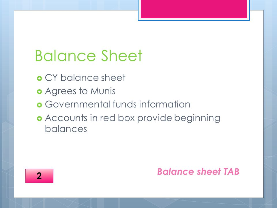 Balance Sheet  CY balance sheet  Agrees to Munis  Governmental funds information  Accounts in red box provide beginning balances Balance sheet TAB 2