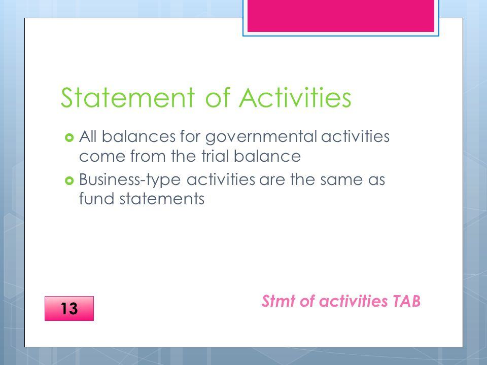 Statement of Activities  All balances for governmental activities come from the trial balance  Business-type activities are the same as fund statements Stmt of activities TAB 13