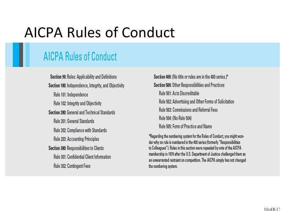 AICPA Rules of Conduct Mod B-17