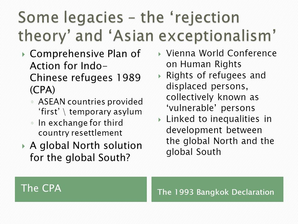 The CPA The 1993 Bangkok Declaration  Comprehensive Plan of Action for Indo- Chinese refugees 1989 (CPA) ◦ ASEAN countries provided 'first' \ temporary asylum ◦ In exchange for third country resettlement  A global North solution for the global South.