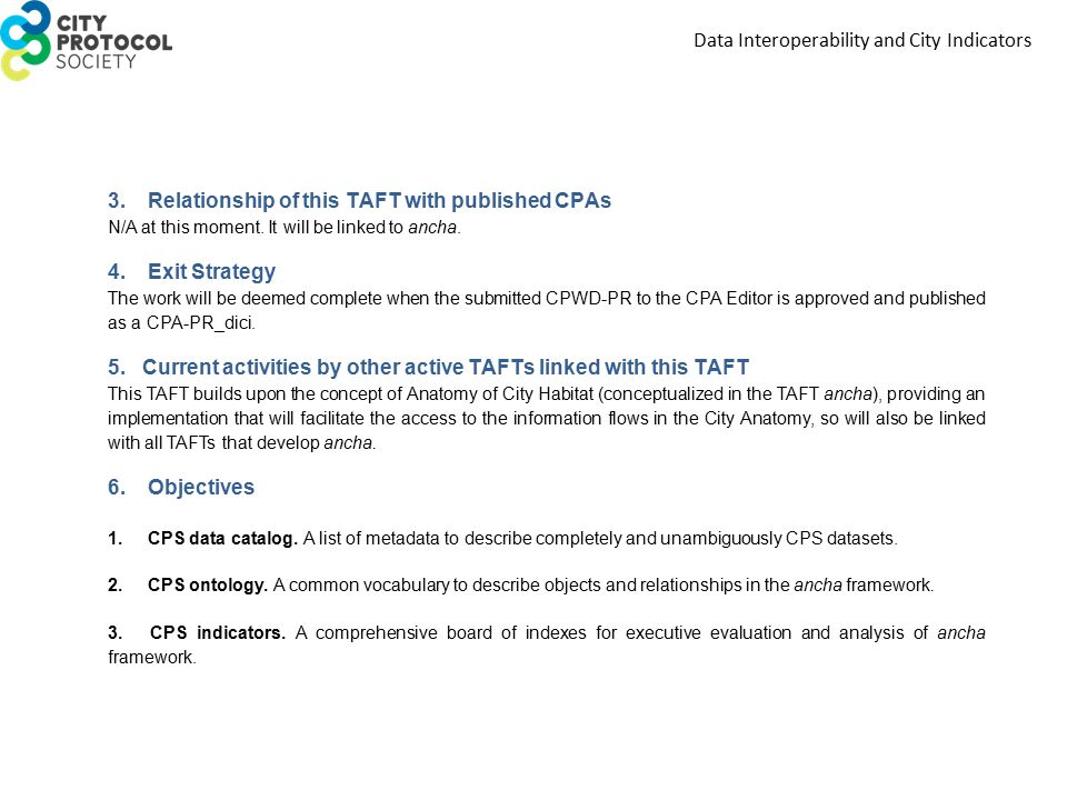 3. Relationship of this TAFT with published CPAs N/A at this moment.