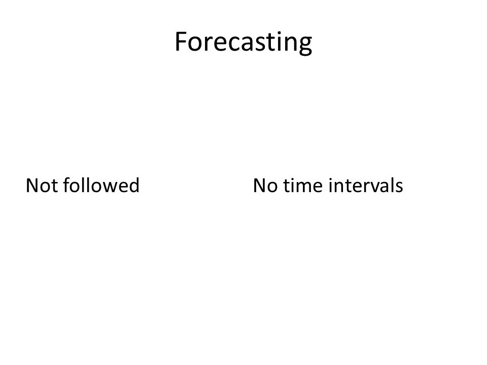 Forecasting Not followedNo time intervals