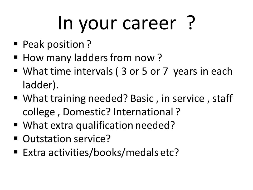 In your career .  Peak position .  How many ladders from now .
